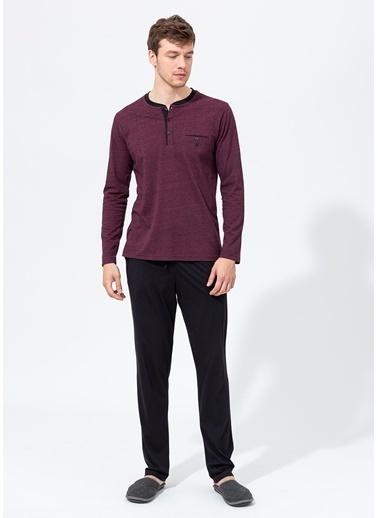 Dagi Kırçıllı O Patlı Uzun Kollu Pijama Takımı Kırmızı
